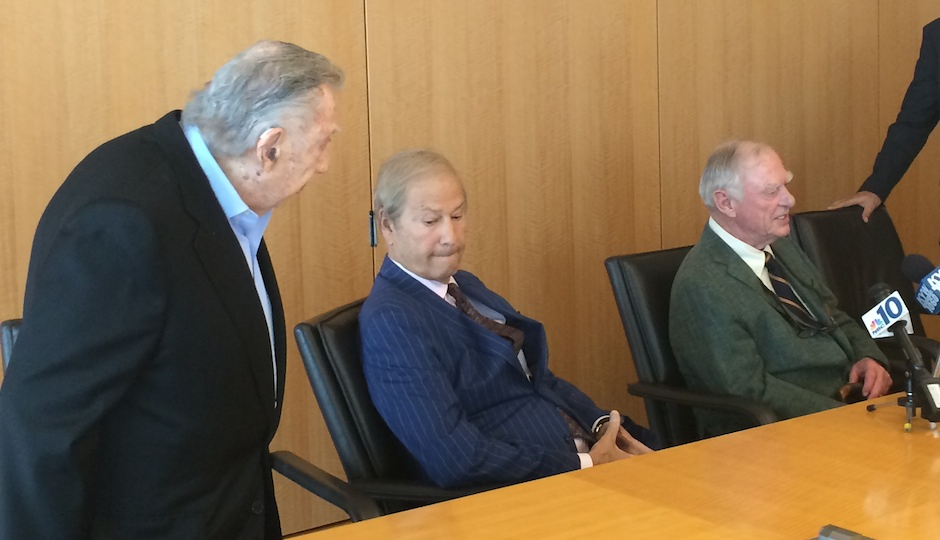 Attorney Richard Sprague, left, advised Lew Katz, center, and Gerry Lenfest on their bid to control the Inquirer and Daily News.