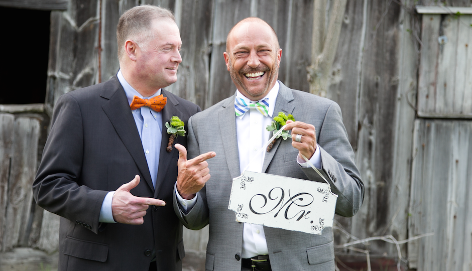 Newlyweds Steve Meyers (right) and Scott TK. Photo by Debbie McGeorge of Art + TK Photography.