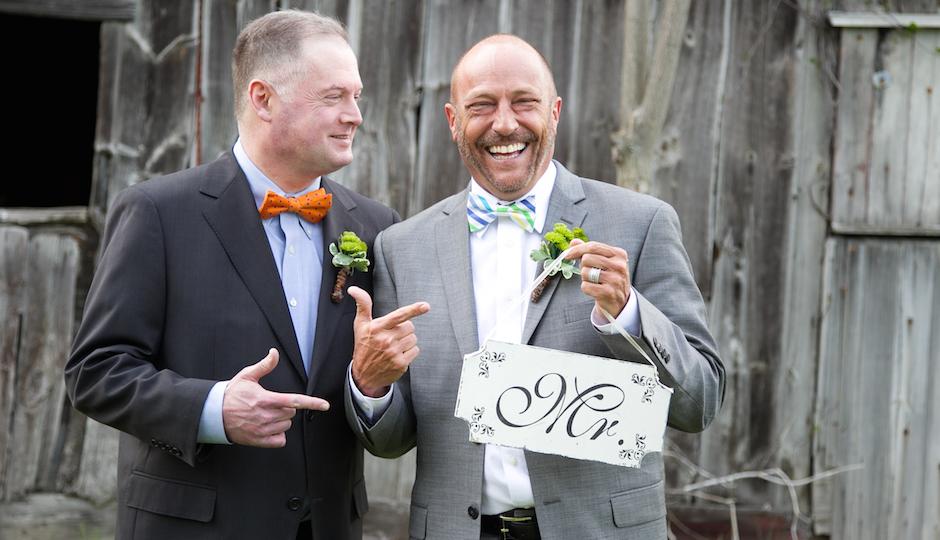 Newlyweds Steve Meyers (right) and Scott TK. Photo by Debbie McGeorge of Art + TK Photography.
