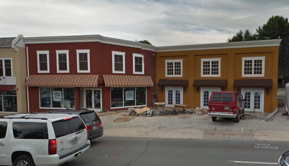 The red building is the future home of Sweet Freedom Bryn Mawr // Photo via Google Streetview