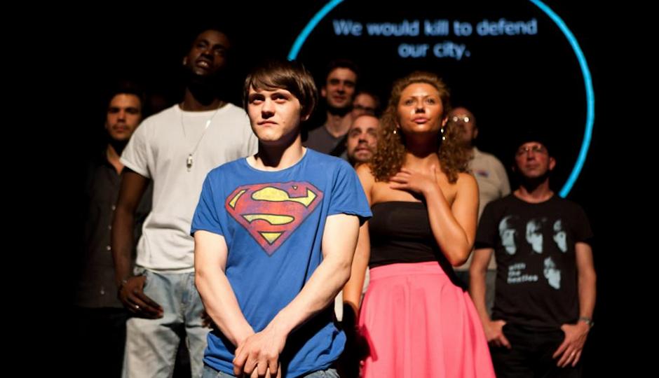 "The London production of TK's ""100 Percent."" The Philadelphia version will run during the 2014 FringeArts festival, TK."