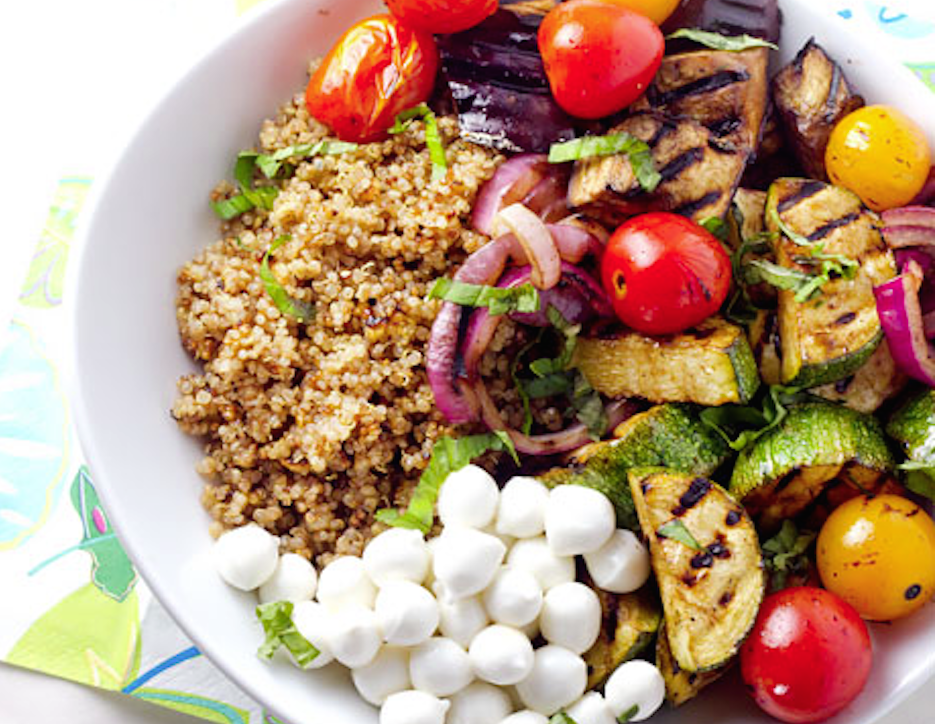 Balsamic Grilled Summer Vegetables with Basil Quinoa Salad