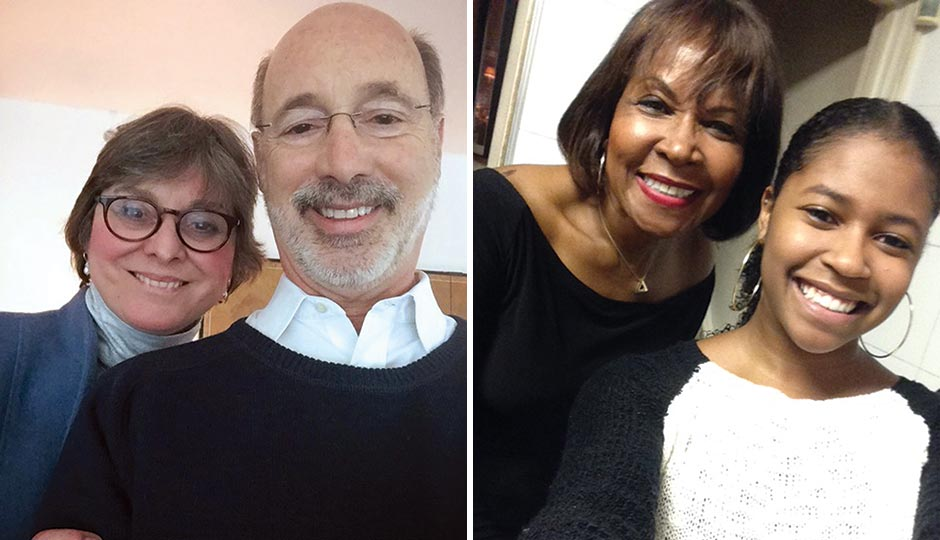 Left: Tom Wolf with wife Frances in Philadelphia, March 20, 2015. Right: Blondell Reynolds Brown at home in Wynnefield with daughter Brielle, Christmas Day 2014.