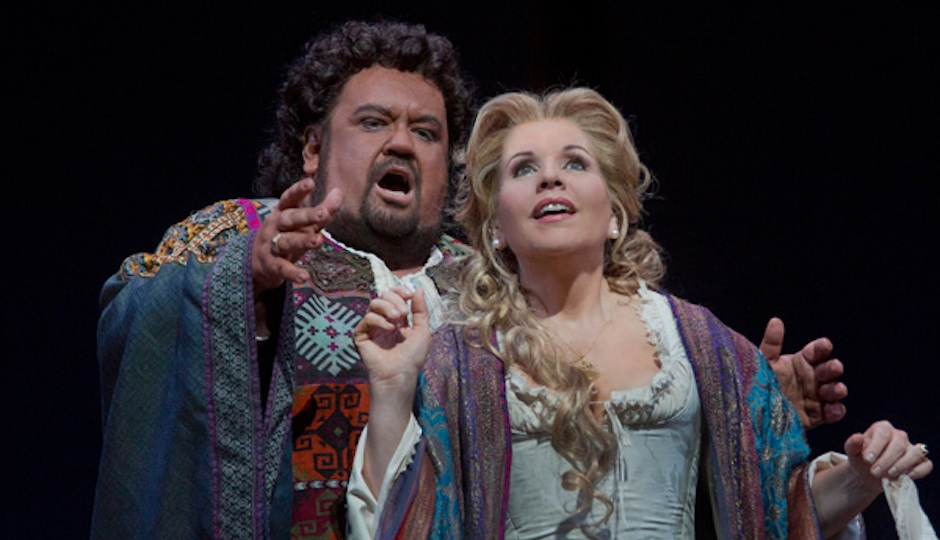 "Jothan Botha and Renee Flemming in a scene from Verdi's ""Otello."""