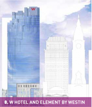 The latest available rendering of Brook Lenfest's proposed dual-hotel tower, via this recent Center City District report