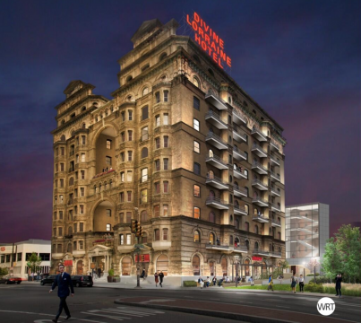 The new rendering of the completed Divine Lorraine renovation, courtesy of EB Realty Management