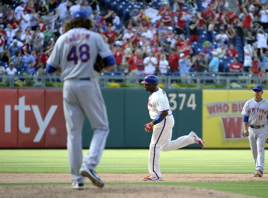 May 31, 2014; Philadelphia, PA, USA; Philadelphia Phillies first baseman Ryan Howard runs the bases after hitting a 3-run home run off New York Mets starting pitcher Jacob deGrom in the seventh inning at Citizens Bank Park.  Eric Hartline-USA TODAY Sports