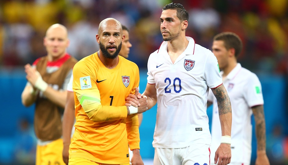 Jun 22, 2014; Manaus, Amazonas, BRAZIL; USA goalkeeper Tim Howard (1) shakes hands with defender Geoff Cameron (20) following the game against Portugal during the 2014 World Cup at Arena Amazonia. The game ended in a 2-2 draw. Photo | Mark J. Rebilas-USA TODAY Sports