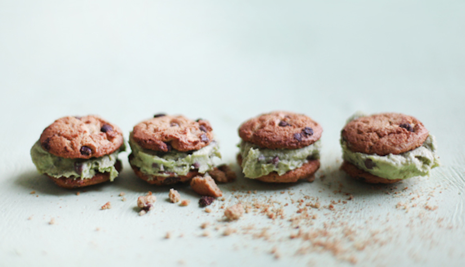 Vegan Avocado Mint Chocolate Chip Ice Cream Sandwiches Pinned by Free People