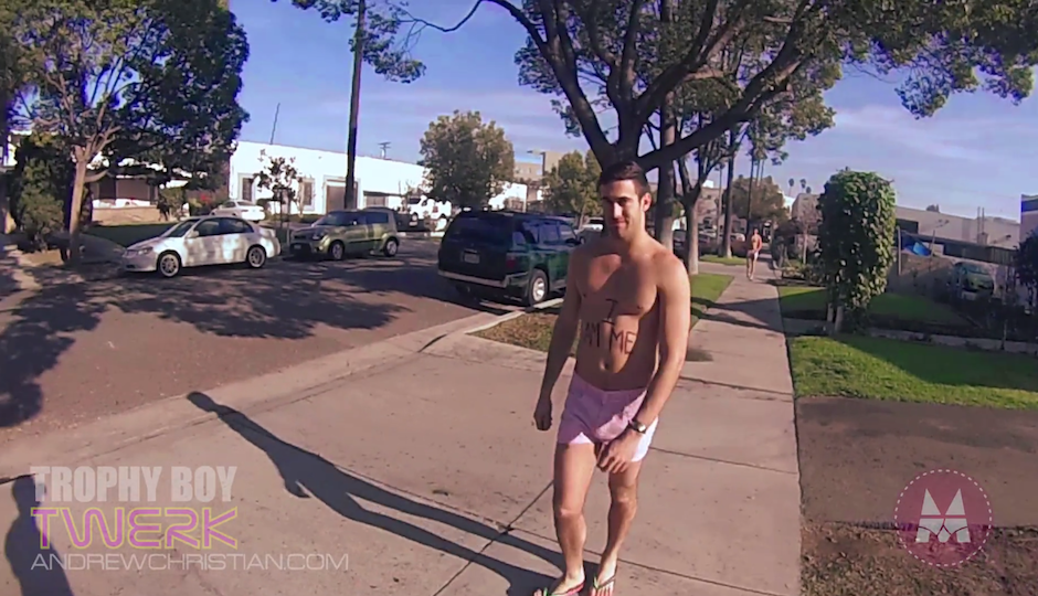"Billy Cavallo in Andrew Christian's latest viral video, ""Gay & Lucky."""