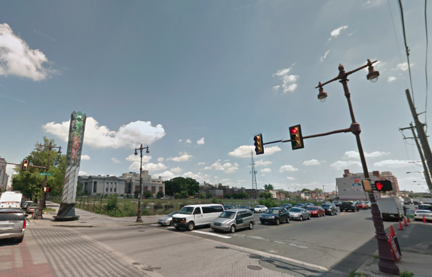 It's all going to happen here, at Broad and Washington. Image via Google Street View.