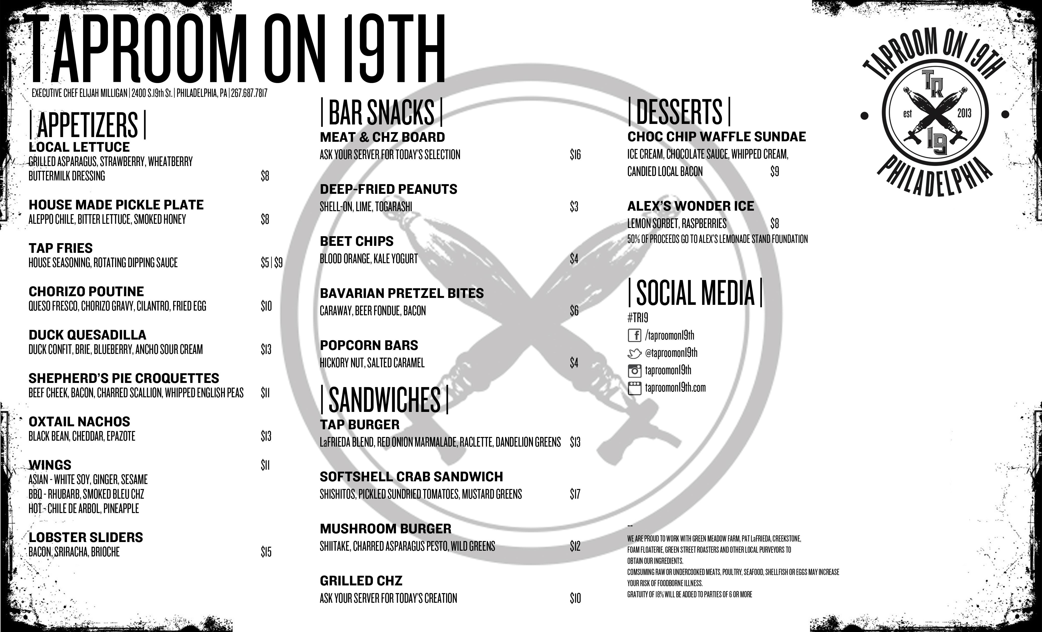 taproom on 19th new menu