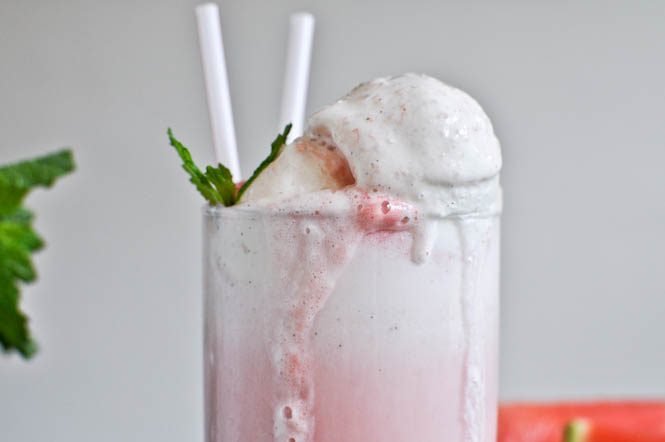 Watermelon and Mint Soda Float