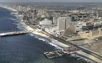 An aerial view of the beach and casinos in Atlantic City.