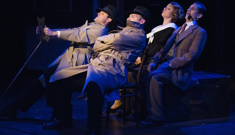 "Steve Pacek, Adam Altman, Geneviève Perrier, and Damon Bonetti in Theatre Horizon's ""39 Steps."" Photo by Matthew J. Photography."