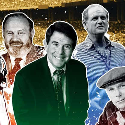 MASTERS OF THE MIC: From left, Kalas, Hart, Reese, Andersen, Ashburn and Franzke.