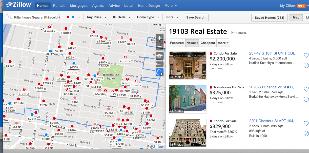 First search results with Zillow.com