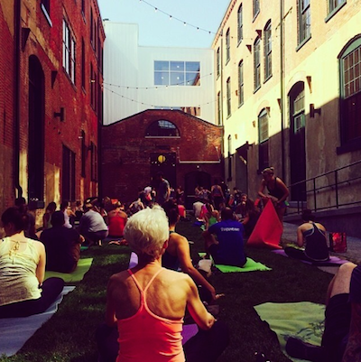 An Urban Yoga Philly class at Oxford Mills // Photo via Grace and Glory Instagram