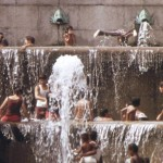 Children playing in the Art Museum fountains in August 1973.