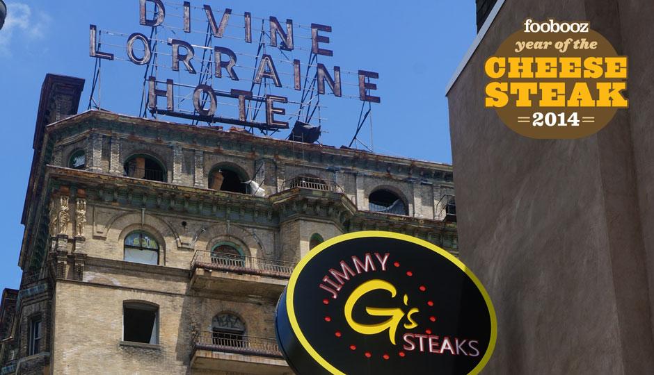 Jimmy G's Steaks next to the Divine Lorraine.