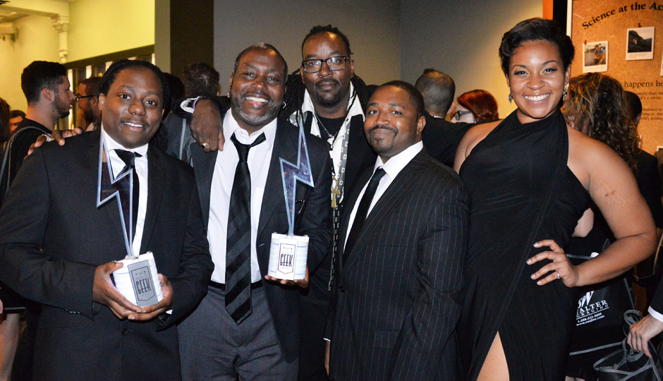 2014-PHILLY-GEEK-AWARDS-19-4774-Jason-Richardson-The-Black-Tribbles-Geek-of-the-Year-Len-Webb-Randy-Green-Erik-Mack-Kennedy-Allen-940x540