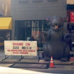 A union rat outside of the future Boxers on Walnut Street.
