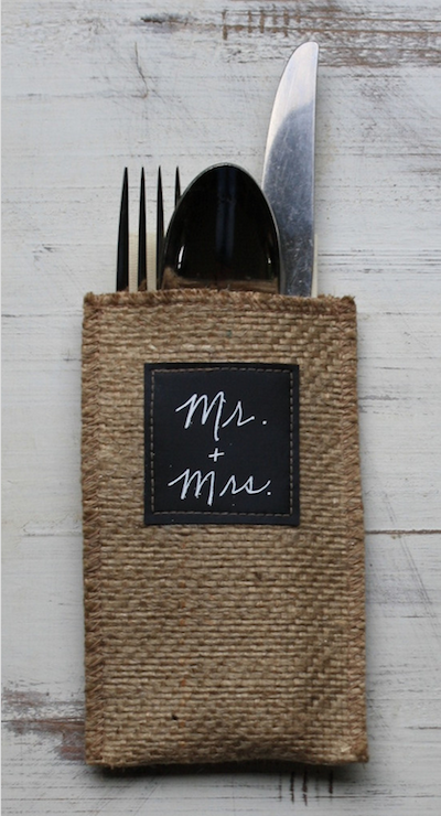 This pouch doubles as a place card when labeled with each guest's name.