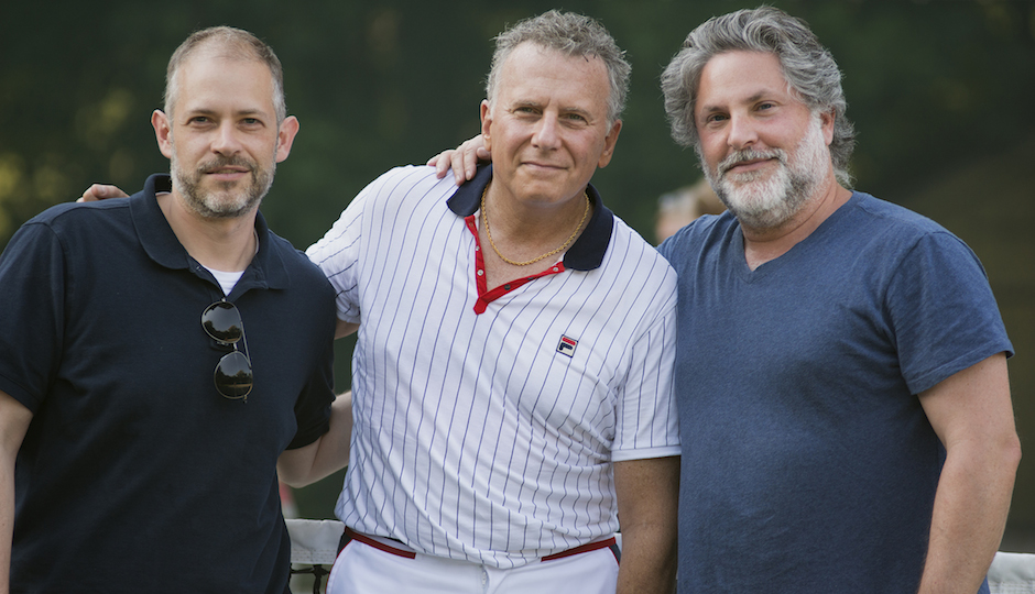 "Joe Gangemi (right) on the set of ""Red Oaks"" with Paul Reiser and co-creator Greg Jacobs."