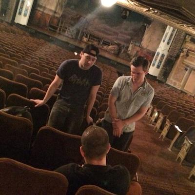 Interviewing Daniel and Bruno in the Forrest Theatre.