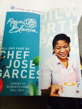 A brochure advertising the new José Garces cafe at Dilworth Park.