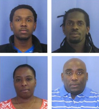 "Clockwise from top right, the four charged in the ""Grandparent Scam"": Witson Lavilette, 38; Kens Wesh, 38; Johanne Wesh, 37; Spencer Compas, 29"