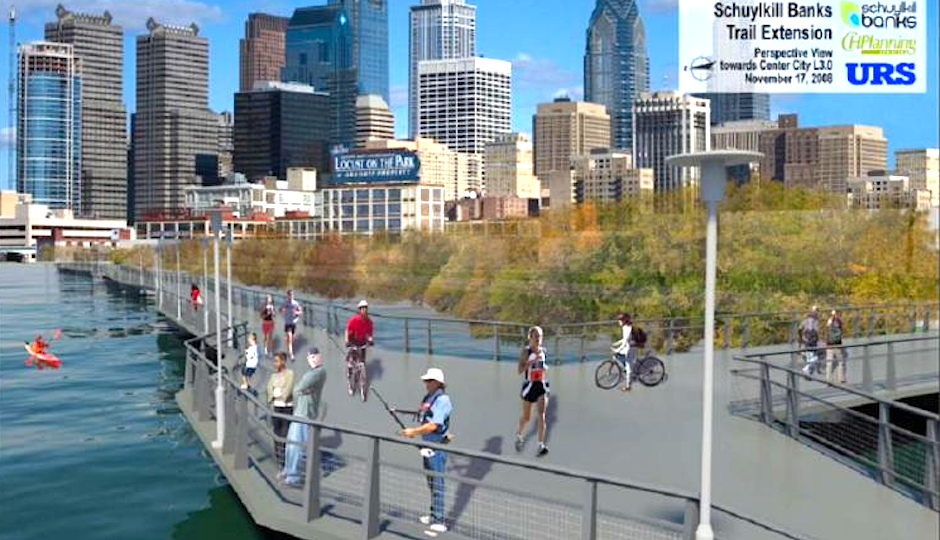 schuylkill river trail boardwalk extension rendering