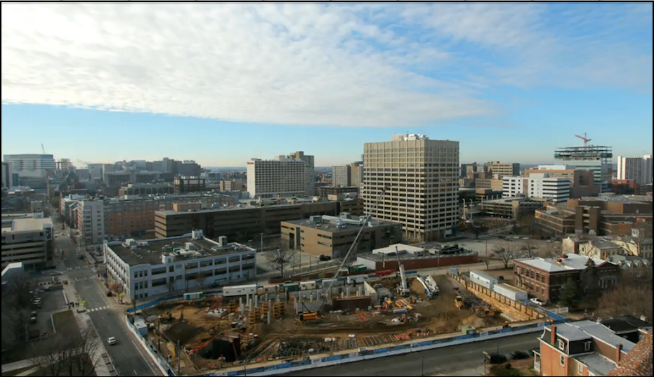 A screen shot from the time-lapse video of Lancaster Square's construction. Actual video below.