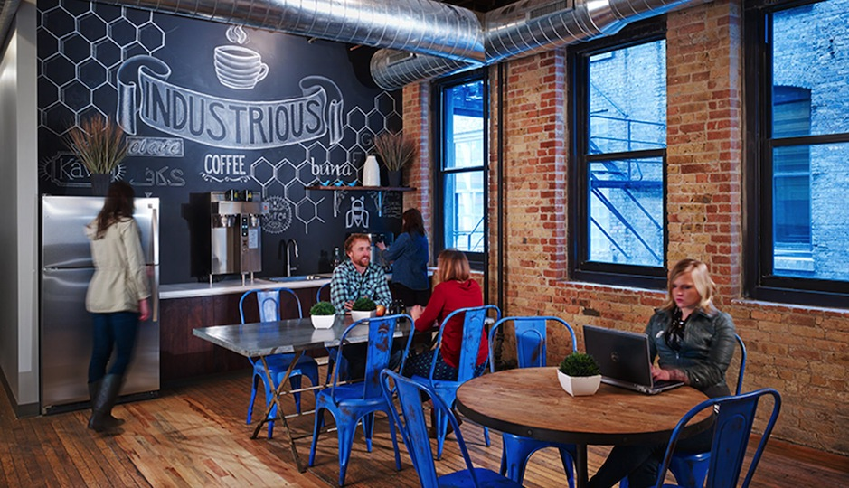 Break room in Industrious Chicago's co-working space. Photo credit: Horn Design.