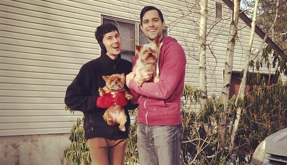 G Philly's editor, Josh Middleton, with his soon-to-be husband Alan and their two pups, Doris and Galileo.