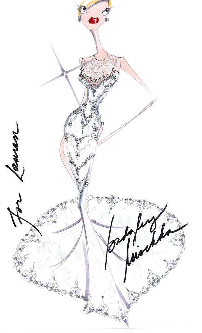 The designers' sketch of Lauren Conrad's beautiful custom gown. Courtesy Badgley Mischka.