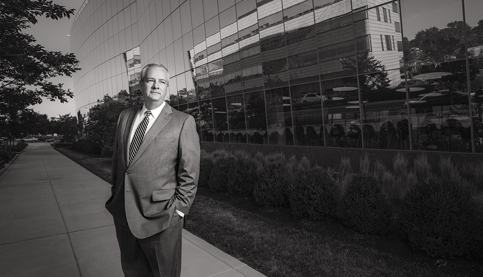PIDC president John Grady at the Navy Yard, whose revival he's helped mastermind. Photograph by Colin Lenton