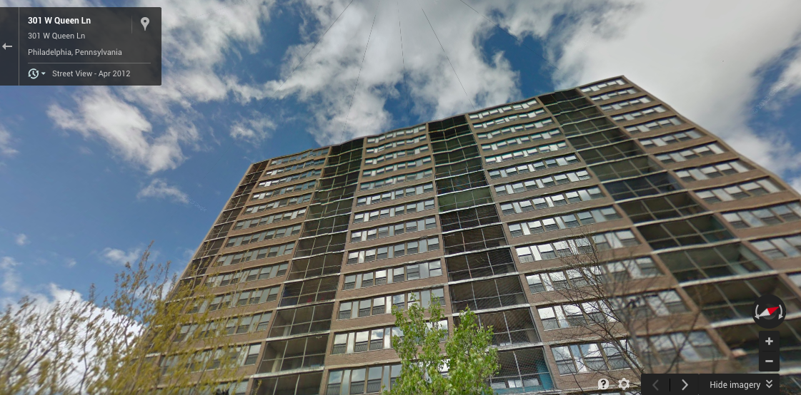 301 Queen Lane, as seen on Google Maps. It will be imploded on Saturday.