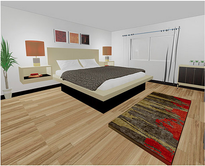 Four of the units feature master bedrooms that are 15'x15'. Rendering via FalconCondominiums.com
