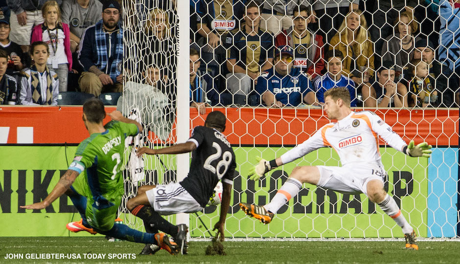 eattle Sounders FC forward Clint Dempsey (2) shoots and scores in during overtime in the U.S. Open Cup final against the Philadelphia Union at PPL Park.