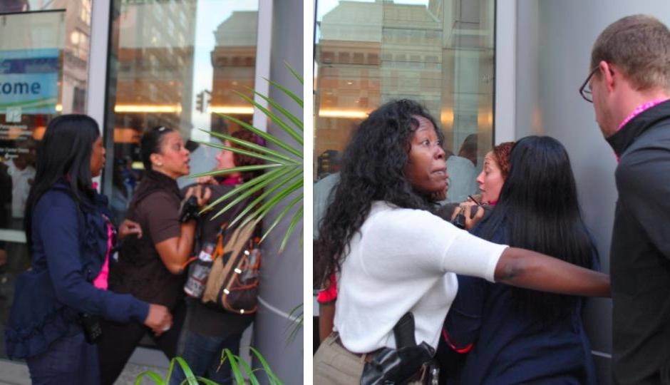 Two photos showing the encounter between Amanda Geraci and Philly police officers.