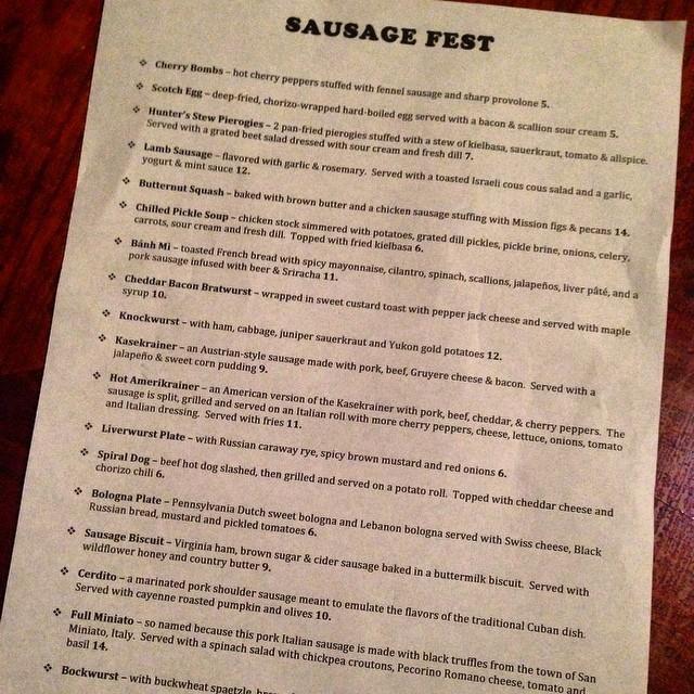 sausage fest menu