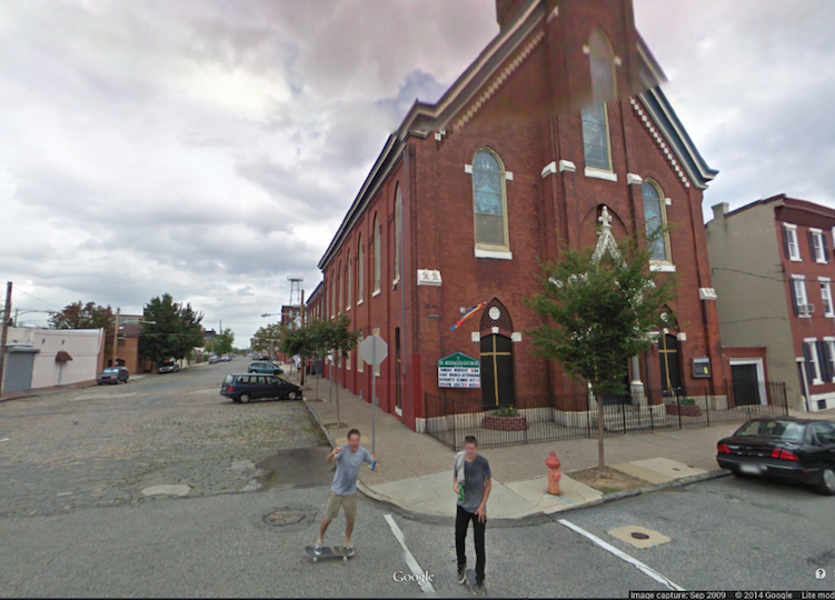 A 2009 Google Street View image shows skater hooligans perpetrating their monkeyshines at the corner of Trenton Avenue and Cumberland. These days they're probably building kinetic sculptures.