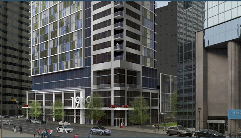 The corner of 20th and Market is going to look at lot different. Full rendering below.