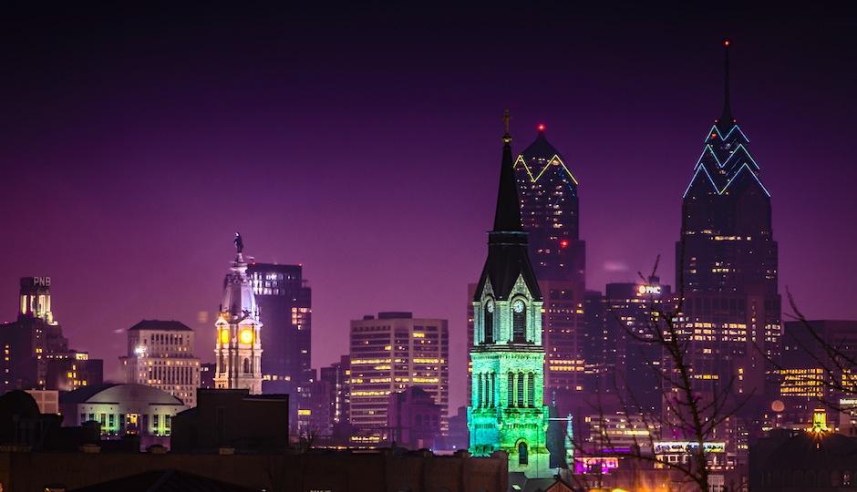 Philadelphia night skyline Photo credit: R'lyeh Imaging via Flickr.