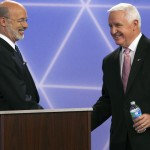 Democratic party candidate for governor of Pennsylvania, Tom Wolf, left, and republican Gov. Tom Corbett before a debate at the WTAE-TV studio in Wilkinsburg, Pa. on Wednesday, Oct. 8, 2014. (AP Photo/Rodney Johnson,WTAE-TV, Pool)