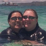 Lianne and Carimina swimming in the Philippines.