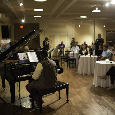 Local jazz phenomenon, Dena Underwood, delights a sell-out crowd at the OutBeat Opening Reception.