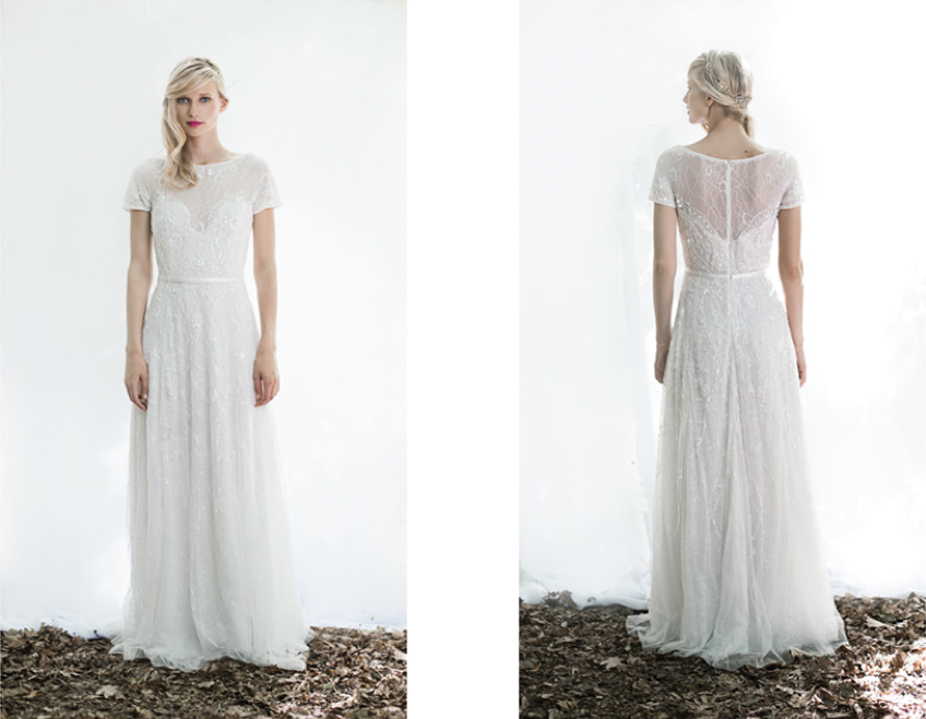 Bella, one of the new dresses you can find in the Old City store from Lovely Bride's new in-house collection.