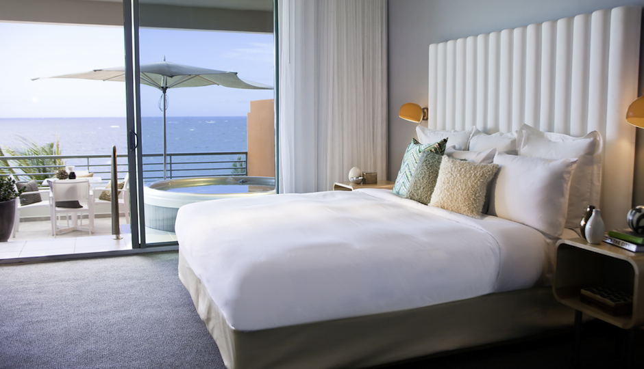 Guest room in the Suite tower at La Concha